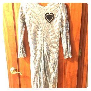 Midi silver sequin sparkle dress